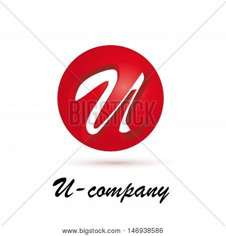 Vector sign spherical initial red letter U