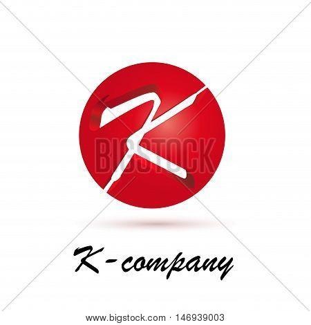 Vector sign spherical initial red letter K