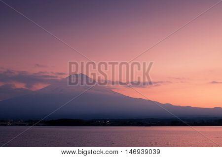 Mount Fuji With The Peaceful Lake Kawaguchi