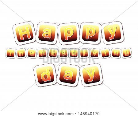 text happy thanksgiving day in yellow brown gradient cards with letters, vector