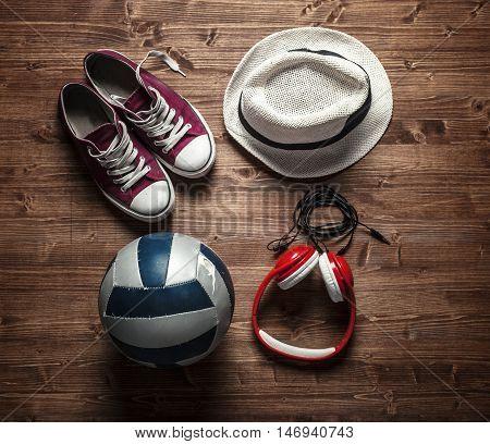 Set for active people - headphones sneakers ball hat