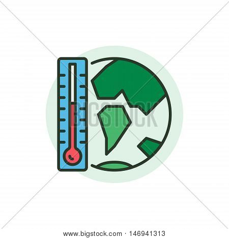 Global Warming concept icon. Vector globe with thermometer flat symbol