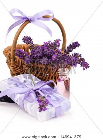 lavender soap isolated on a white background