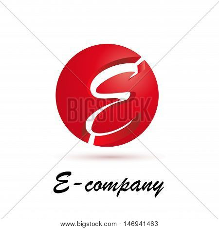 Vector sign spherical initial red letter E