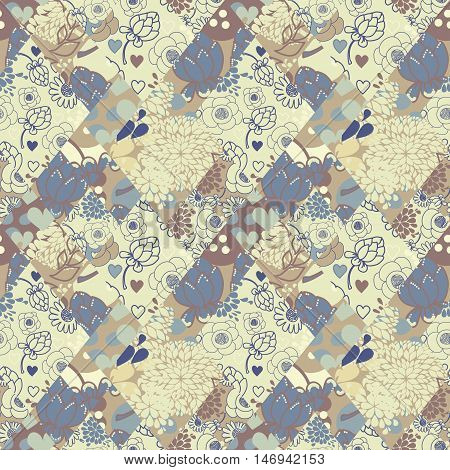 creative vector seamless pattern from flaps of ornaments, patchwork style