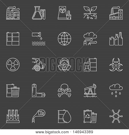 Pollution outline icons. Vector set of global environmental pollution linear concept signs or logo elements on dark background