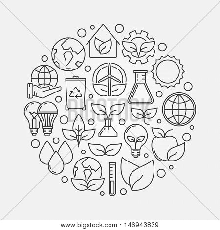 Eco concept illustration. Vector circular ecological symbol made with outline ecology and nature icons