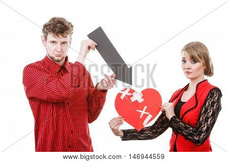Couple Holding Love Symbols.