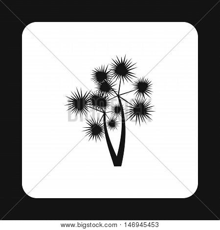 Two tropical palm-tree icon in simple style isolated on white background vector illustration