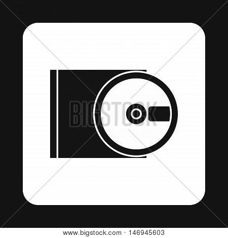 CD rom and disk icon in simple style isolated on white background. Equipment symbol vector illustration