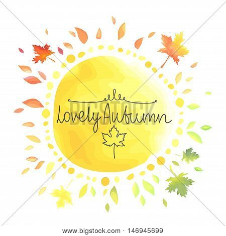 Autumn background for text. Round shape yellow spot with colorful leaves around isolated on white background. Watercolor imitation in vector. Each object is separately, easy to edit.