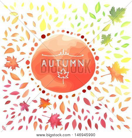 Autumn illustration with motley leaves. Watercolor imitation in vector. Each object is separately.