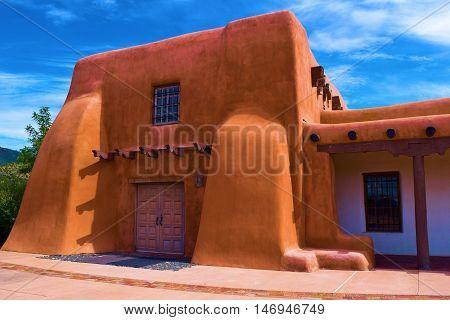 Southwestern style Adobe Building taken in Santa Fe, NM