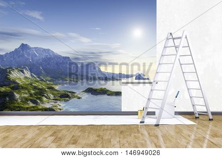 3d render of redecorate a room with a photo mural nature scenery