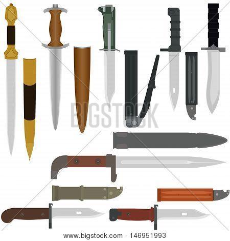 Set of combat knives. Illustration on white background.