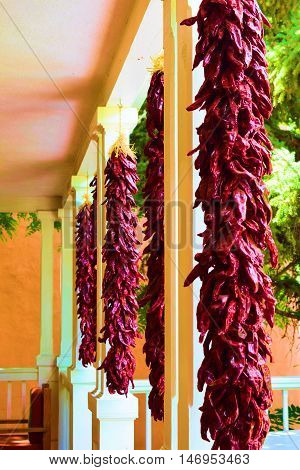 Hanging Chile Peppers at a front porch placed as decoration which is a New Mexico custom and culture taken in Santa Fe, NM