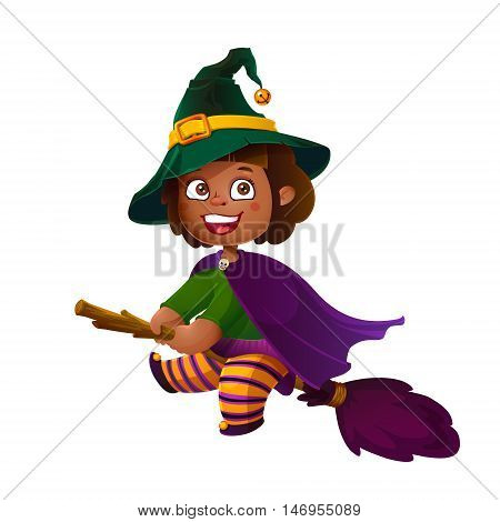 Cute Latina Girl Witch on the Broom. Happy Halloween. Trick or Treat, Cartoon Illustration. Witch flying on a broomstick isolated on white background