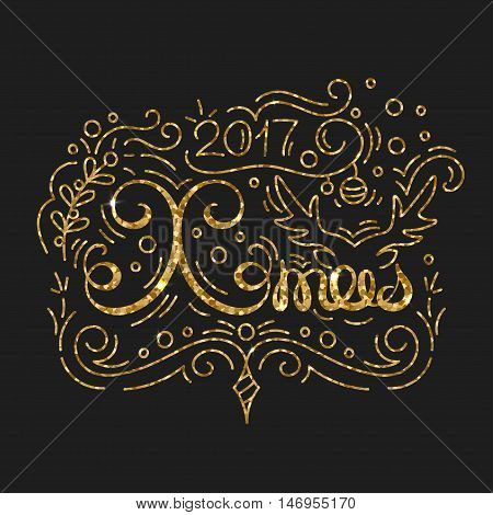Xmas Golden Lettering Design. Typographic Background with Christmas Greetings. Line Art Style Vector Illustration. Shiny gold glitter print with quote for housewarming items.