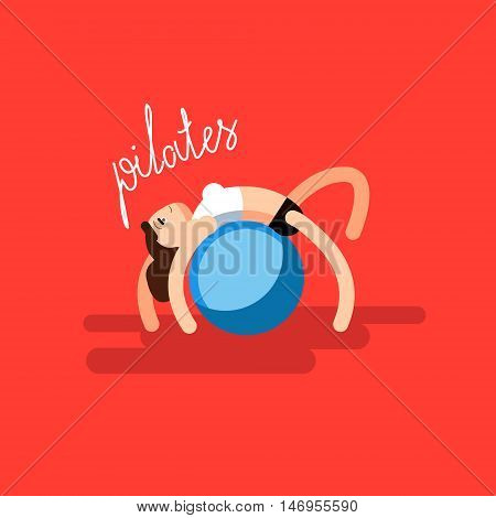 Sport woman doing pilates at flat vector fitness illustration. Art have calligraphy word pilates