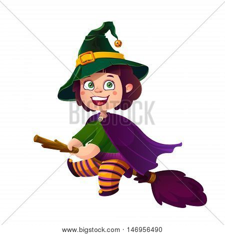 Cute Brunette Girl Witch on the Broom. Happy Halloween. Trick or Treat, Cartoon Illustration. Witch flying on a broomstick isolated on white background