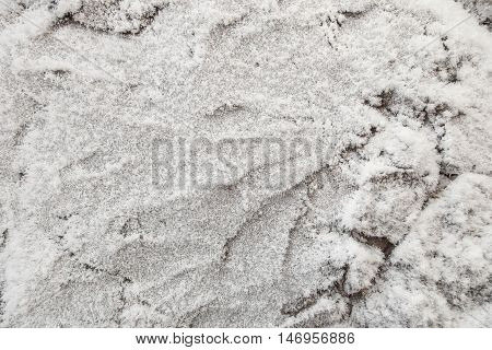 Background of stone covered with frost hoarfrost texture closeup abstract winter background