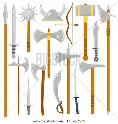 Vector set of edged weapons. Weapon collection swords, knifes, axes and spears. Symbol of battle and war. Isolated illustration on white