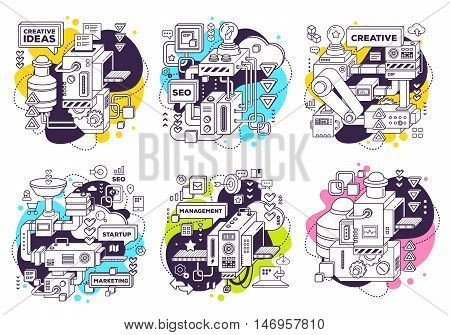 Vector Set Of Illustration Of Three Dimensional Black And White Mechanism To Develop Product On Whit
