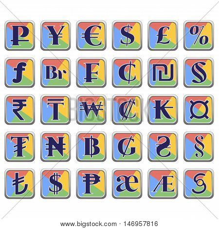 Set of currency symbols of world inside colorful square flat blocks isolated on white. Vector illustration