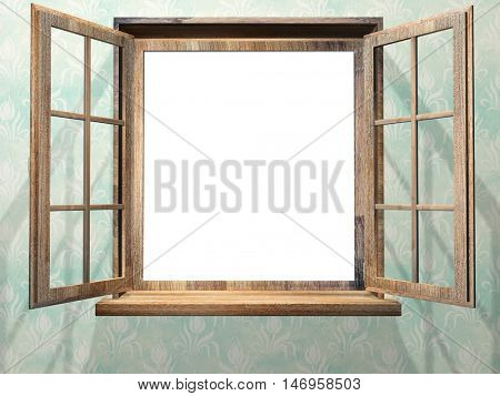Open wooden window on wall with vintage wallpaper of blue color. 3d render