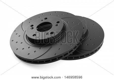 Brake disks isolated on white background