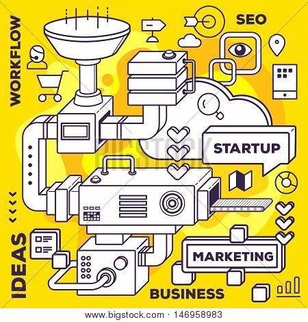 Vector Illustration Of Three Dimensional Black And White Mechanism To Develop Startup On Yellow Back