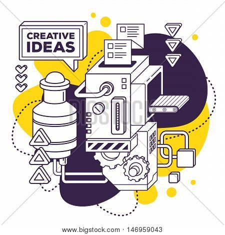 Vector Illustration Of Three Dimensional Black And White Mechanism To Develop Creative Ideas On Whit