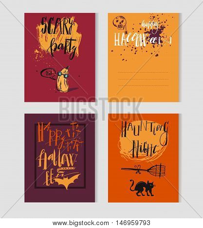 Halloween party invitation and greeting card flayer banner poster templates. Hand drawn traditional symbols cute design elements handwritten ink lettering. Orange and turquoise vector collection.