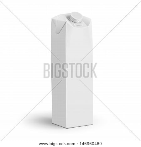 Template of white tall carton pack with screw cap. For beverage juice, milk. Packaging collection. Vector illustration.