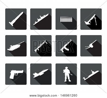 Icons set of black and white silhouettes of armed forces.