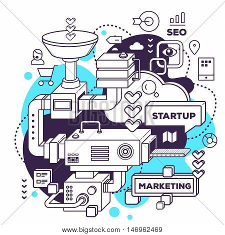 Vector Illustration Of Three Dimensional Black And White Mechanism To Develop Startup On White With