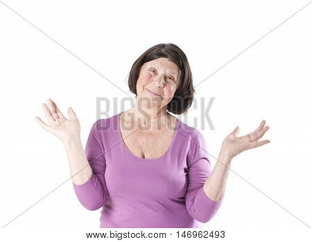 Elderly Woman Throws Up His Hands To The Side..