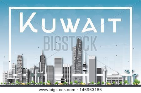 Kuwait City Skyline with Gray Buildings, Blue Sky and White Frame. Business Travel and Tourism Concept with Modern Buildings. Image for Presentation Banner Placard and Web.