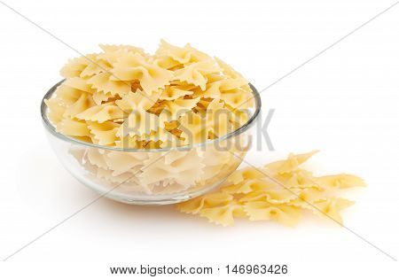 Farfalle isolated on white background with clipping path