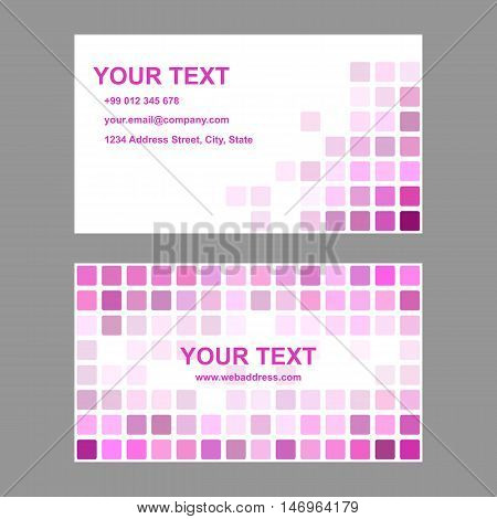 Magenta abstract business card template background design from rounded squares