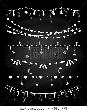 Hand drawn christmas garlands or chalkboard string lights for wedding invitation card vector brushes