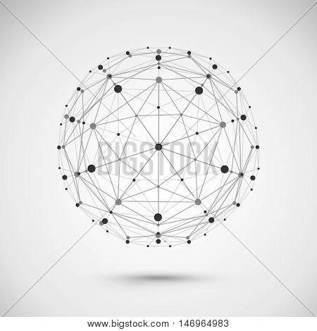 Connect globe or wire sphere icon. Vector connecting lines mesh wireframe earth ball