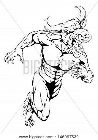 Bull Mascot Sprinting
