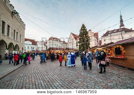 Estonia Tallinn - 24 DECEMBER: 2016: Christmas market at Tallinn city hall square