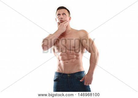 Strong Athletic Man On White Background.