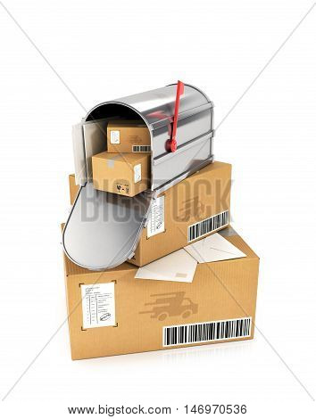 The stack of cardboard boxes. Mail box with letters inside lying on cardboard boxes. 3D illustration