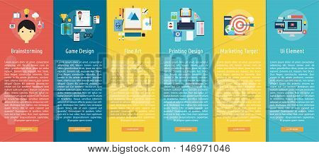 Design and Development Vertical Banner Concept   Set of great vertical banner flat design illustration concepts for design, development, analysis, creative idea, event and much more.