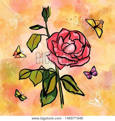Freehand vector post card with watercolor drawing of rose branch with pink flower, bud, and green leaves, splashes of paint, butterflies, on the background of golden yellow skeleton leaves