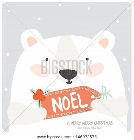 Merry Christmas and Happy New 2016 Year Card with Happy Smiling Xmas White Teddy with Greeting Noel Label on Grey Background. Greeting holidays lovely card.