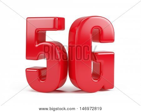 3d rendering of 5G icon isolated on white